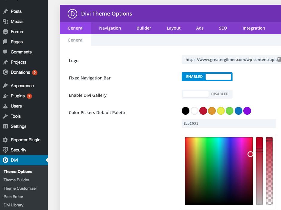 color pickers default palette
