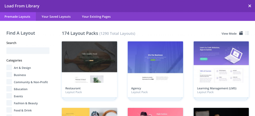 choose a layout pack