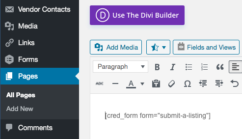 toolset and divi bug