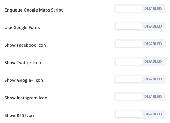 turn off the google fonts and social icons